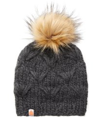 women's sh*t that i knit the motley merino wool beanie with removable faux fur pompom - grey