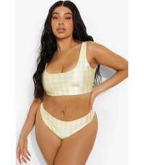 plus gingham bikini top met lage ronde hals, yellow