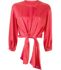 lapointe crinkle satin tie blouse - red