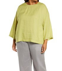 plus size women's eileen fisher organic linen boxy tunic