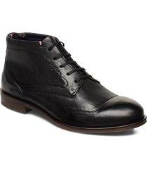 dress casual leather boot snörade stövlar svart tommy hilfiger