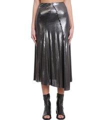 acne studios emina metallic skirt in silver viscose