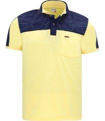 camiseta tipo polo amarilla puntazul con bolsillo