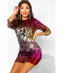 boutique multi sequin bodycon dress, red