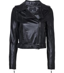 jaqueta le lis blanc valerie bordada couro preto feminina (black, 50)