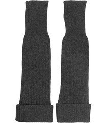ganni long fingerless gloves - grey