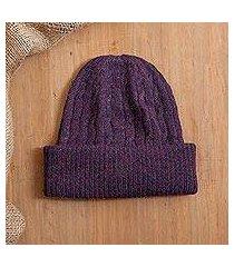100% alpaca knit hat, 'comfy in purple' (peru)