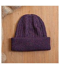 100% alpaca knit hat, 'comfy in purple' (peru)
