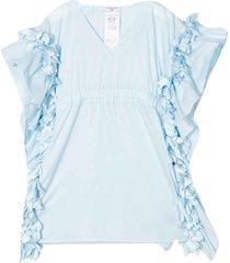 monnalisa light blue blouse with ripples