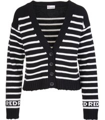 red valentino black cardigan in wool blend with white stripes