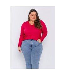 blusa plus size feminina lisamour tricot leve carmim