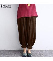zanzea mujeres de la alta cintura largo baggy leggings pantalones harem hippy -marrón