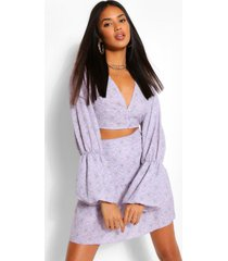 paisley print extreme puff sleeve crop top, lilac