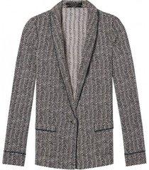 maison scotch 148416 0605 drapey blazer in zig zag print combo z zwart