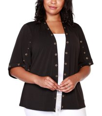 belldini black label plus size embellished 3/4 sleeve cardigan