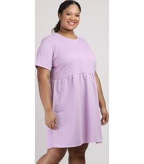 vestido de moletom feminino plus size mindset curto manga curta lilás