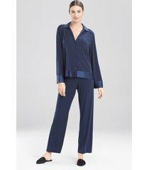 jersey essentials silk pajamas / sleepwear / loungewear, women's, blue, 100% silk, size l, josie natori