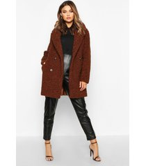 double breasted bonded faux fur teddy coat, chocolate