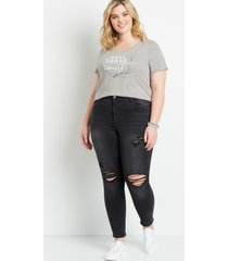 maurices plus size womens vintage high rise black destructed jegging