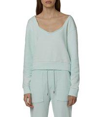 women's hudson sweetheart cotton sweatshirt, size x-small - blue