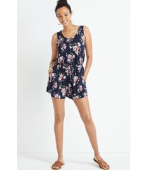 maurices womens 24/7 navy floral drawcord pocket sleeveless romper blue