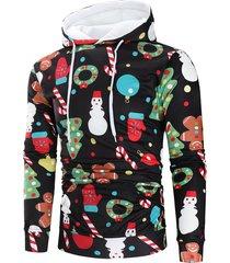 christmas theme printed long sleeve hoodie