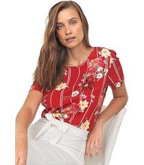 blusa lunender floral vermelha - kanui