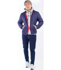 chaqueta azul puffer con cremalleras rojas para hombre
