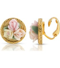 2028 gold tone 3 flower pink white porcelain flower round button clip earring