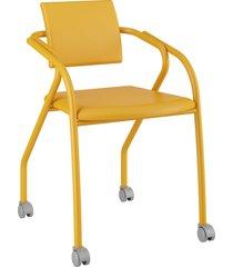 cadeira 1713 caixa com 1 napa móveis carraro amarelo