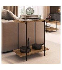 mesa lateral artesano com 2 prateleiras base em aço vermont