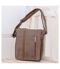 faux leather messenger bag, 'tica exploration' (costa rica)