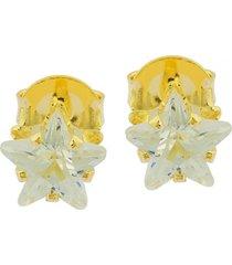 brinco dona diva semi joias solitário estrela 8mm dourado - kanui