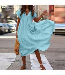 zanzea mujer, fiesta de verano sin mangas ocasionales flojas club de la tarde maxi largo del vestido -azul claro