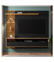 painel para tv até 60 pol bechara trend preto fosco/cinamomo ripado