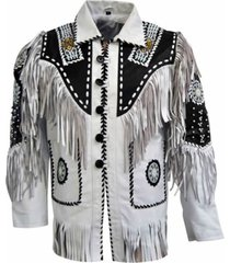 men white cow leather western cowboy jacket with fringe, mens fringe jackets