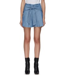 belted patch pocket chambray shorts