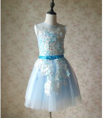 light blue flower lace tutu high waist flower girl dress birthday ball gowns nwt