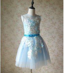 light blue flower lace tutu high waist flower girl dress birthday ball gowns nwt