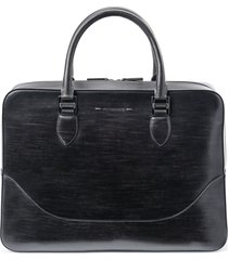 men's magnanni medium leather briefcase - grey