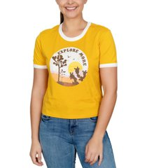 rebellious one juniors' explore more graphic-print ringer t-shirt