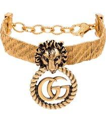 gucci lion head gg hoop bracelet - gold