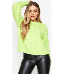 crew neck cable knit sweater, lime