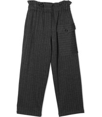 brunello cucinelli dark grey virgin wool-blend trousers