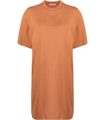acne studios drop-shoulder short-sleeve dress - orange
