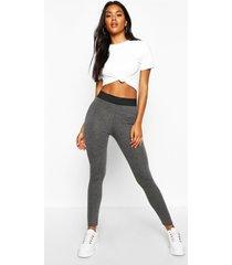 basic leggings met contrasterende taille band, houtskool