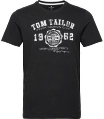 logo tee t-shirts short-sleeved svart tom tailor