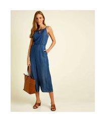 macacão feminino jeans pantacourt vazado