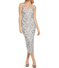 afrm amina sleeveless midi dress, size x-large in blanc zebra at nordstrom