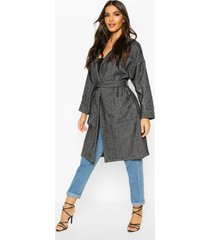 herringbone belted wool look coat, charcoal